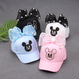 2017 Children Hip Hop Baseball Cap Summer Baby rabbit ear pearl bow kids Sun Hat Boys Girls snapback Caps for 2-8 years old-lilogal