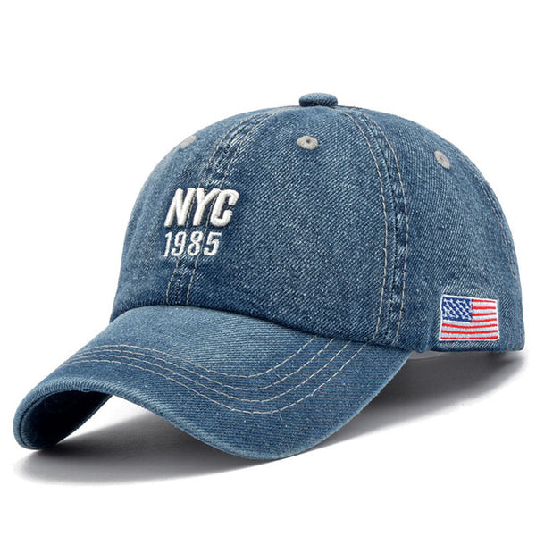 Denim Solid Blue Jeans NEW YORK City 1985 American Flag Baseball Hat Cap Cowboy Dad Hat Curved Ball Cap USA Distressed Vintage-lilogal