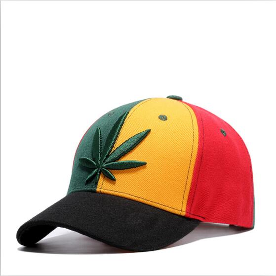 2017 New Fashion Embroidery Maple Leaf Cap Weed Snapback Hats For Men Women Cotton Swag Hip Hop Fitted Baseball Caps-lilogal