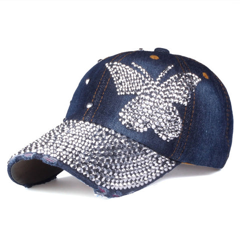 [YARBUU]Beauty caps new design popular women rhinestone denim baseball cap fashion brand woman jean crystal hip hop snapback hat-lilogal