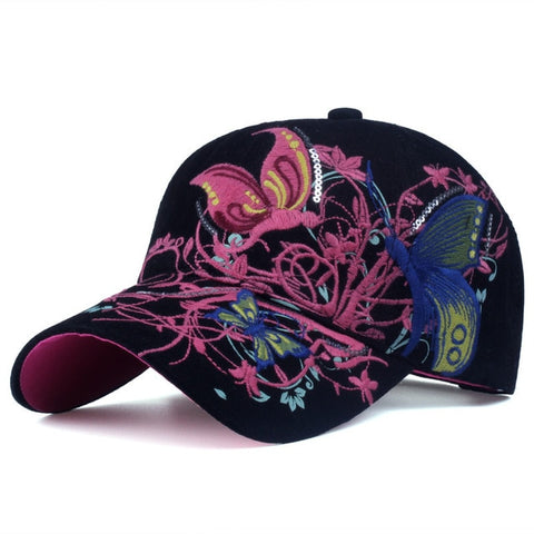 [YARBUU]Baseball Caps 2017 New High quality Butterflies and flowers embroidery Summer and fall caps fashion women baseball hat-lilogal