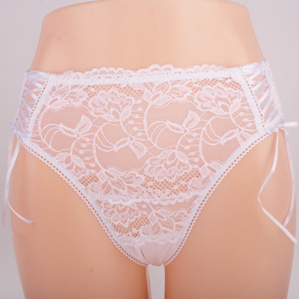 [US Size]Sexy Underwear Women Panties Transparent Thongs Briefs Plus Size Lace Underpants White Knickers For Ladies L XL XXL 3XL-lilogal