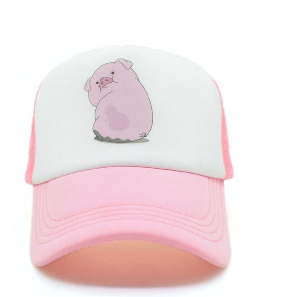 CLIMATE 2017 Cute Gravity Falls Mabel Dipper Pink Pig Waddles Mesh Summer Trucker Caps Youth Pink Girls Cool Net Mesh Hat Cap-lilogal