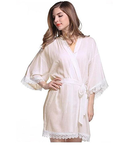 Women's Cotton Kimono Wedding Robe for bride and Bridesmaid with Lace Trim Short Style-lilogal