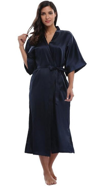 Women's Satin Long Kimono Robe Dressing Gown Sexy Bridal Bridesmaid Bath Robe Woman Elegant Party Wedding Sleepwear Robes-lilogal