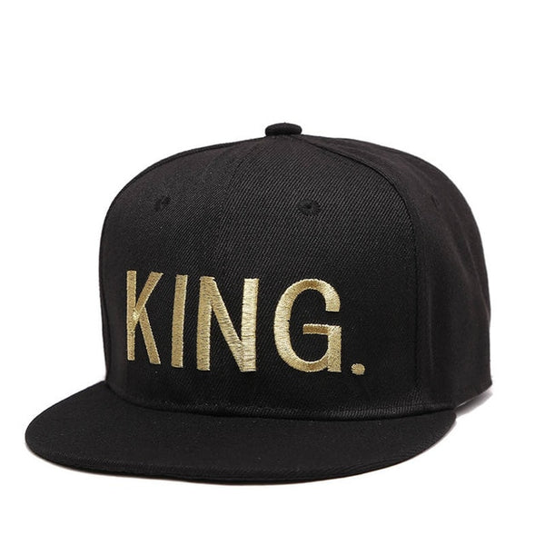 VORON KING QUEEN Gold letters Embroidery Snapback Hats Flat Bill Trucker Hats Acrylic Men Women Gifts for Him Her-lilogal