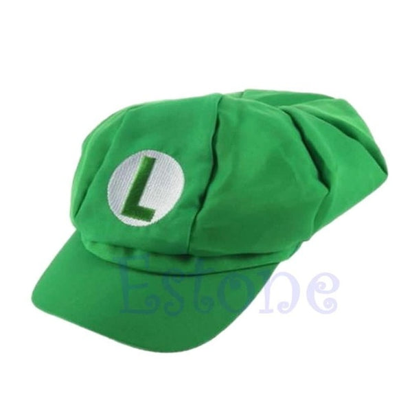 New Fashion Luigi Super Mario Bros Cosplay Adult Size Hat Cap Baseball Costume-lilogal