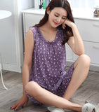 Peignoir home women pijama cotton knited feminino pajamas set M-4XL sleeveless summer female vest sleepwear home clothing-lilogal
