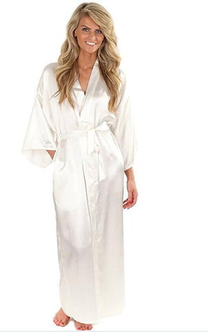 Women Silk Satin Long Wedding Bride Bridesmaid Robe Kimono Robe Feminino Bath Robe Large Size XXXL Peignoir Femme Sexy Bathrobe-lilogal