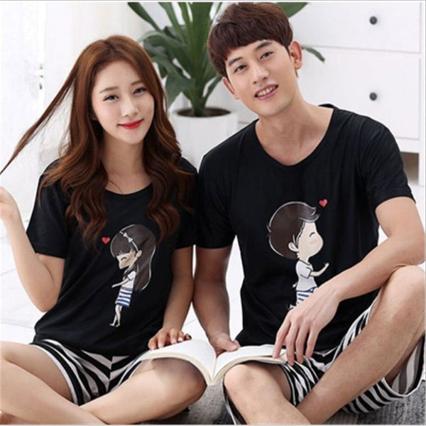 2017 Summer Newest Men/Women fashion Character printing Round Neck Short sleeved shorts Sleepwear Couple Leisure Pajamas stes-lilogal