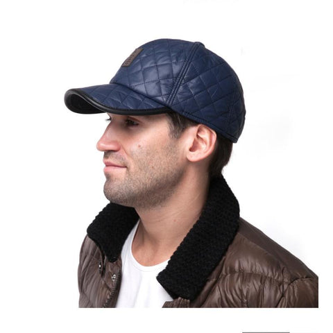 NEW Fashion 6 Panel Fitted Baseball Cap Men's Winter Hats with Ears Keep Warm Cotton Lining Bone casquette snapback hats for men-lilogal
