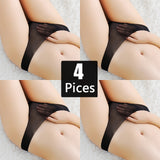 Free Shiping 4 PCS/Lot Brand Women Sexy Panties Hollow Transparent Thongs Lace Panties Underwear Seamless G String Women Briefs-lilogal