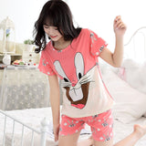 Pajamas Sets For Women Summer Short Sleeve stripes Cartoon Cute Sleepwear Girl Pijamas Mujer Nightgown Lovely Leisure Wear Suit-lilogal