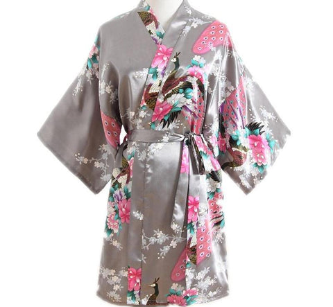 Women Satin Short Nightgown Kimono Robe New Gray Bathrobe Floral Pajamas Wedding Bride Bridesmaid Sexy Dress Gown One Size-lilogal