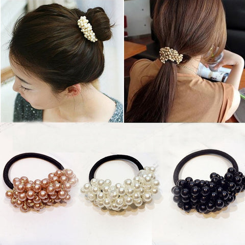 Women Hair Accessories Pearls Beads Headbands Ponytail Holder Girls Scrunchies Vintage Elastic Hair Bands Rubber Rope Headdress-lilogal