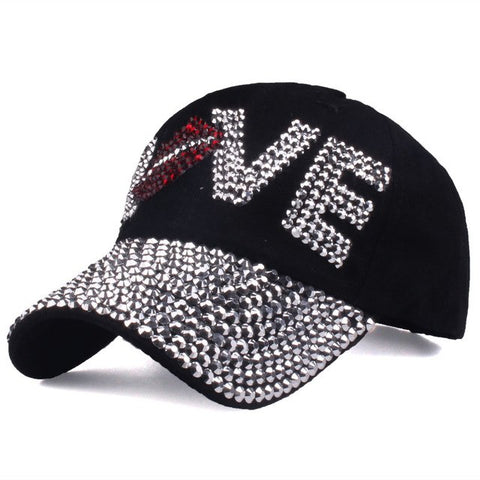 [YARBUU] Baseball caps New style letter LOVE cap for women sun hat rhinestone hat denim and cotton snapback cap free shipping-lilogal