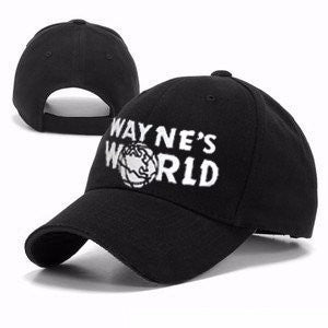 Black Wayne's World Hat Costume Waynes World Baseball Caps Unisex Earth Hats Embroidered Trucker Dad Hat Unisex Cap Adjustable-lilogal