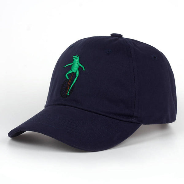 New Embroidery Wheelbarrow Frog Dad Snapback Baseball Cap Curved Bill Green Frog Pepe Fitted Hats Meme Frog Visor Hat Gorras-lilogal
