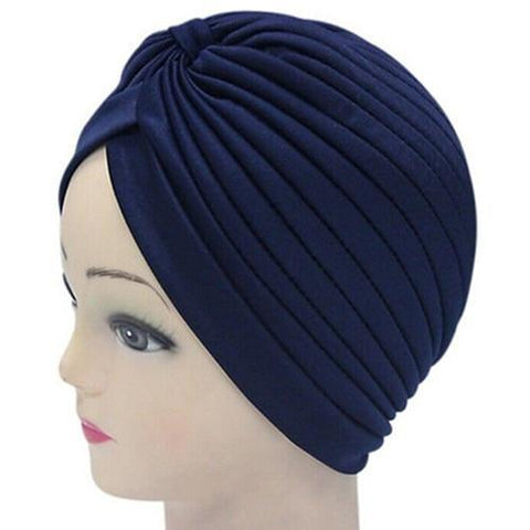 Women Stretchy Hat Turban Head Wrap Band Chemo Bandana Hijab Pleated Indian Cap-lilogal