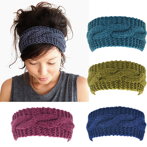 Women's Wool Crochet Turban Headband Winter Warm Elastic Hairband Head Wrap Bandage Headbands Headwear Girls Hair Accessories-lilogal