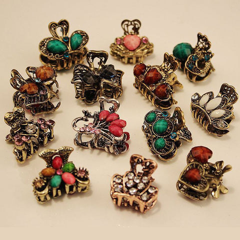 Random!!1PC Vintage Metal Butterfly Small Mini Hair Clip Claw Clamp Retro Crystal Rhinestone Hairpin Jewelry Hair Accessories-lilogal