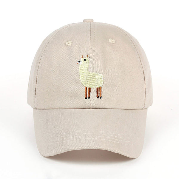 VORON new Unisex Alpaca Embroidery Adjustable Dad Hat men women cute Black beige Alpaca Baseball Cap-lilogal