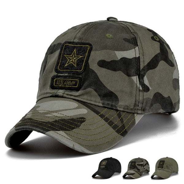 MNKNCL 2018 New Men Pentagram Cap Top Quality U.S. Army Caps Men's Fishing Hat Camo Baseball Hats Bone Adjustable-lilogal