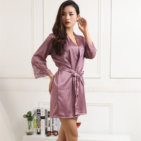 Women Silk Satin Robes Sexy Kimono Nightwear Sleepwear Pajama Bath Robe Nightgown With Belt LS5-lilogal