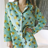 New Arrival 2017 Pajama Sets Women Pineapple Print 3 Pieces Set Long Sleeve Tops + Shorts Elastic Waist + Blinder Loose S7D609L-lilogal