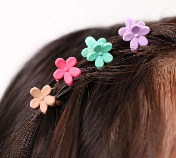 40 pcs Fashion Hair Accessories Hairpins Small Flowers Gripper Korean Children 4 Claws Plastic Hair Clip Clamp-lilogal