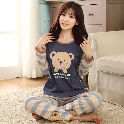 2017 New Spring Long Sleeved Cotton Women's Pajamas Set Cartoon Sleepwear Girls Pyjamas Mujer Lady Casual Home Clothing-lilogal