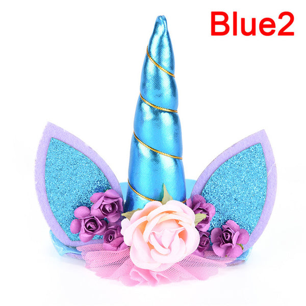 Glitter Metallic Gold/Silver Unicorn Horn with Chiffon Flowers Hair Hoop Party For kids headband accessories-lilogal