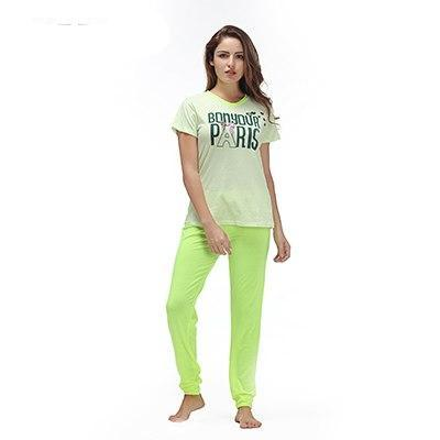 Yusano 2017 Pajamas Cotton Cute Heart Short Sleeve Pijama De Unicornio Bow Letter Print Red Green (T shirt +Long Pants) Pyjamas-lilogal
