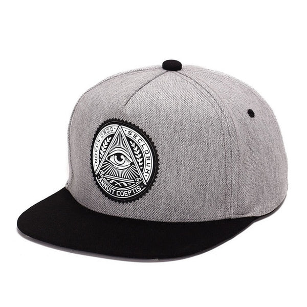 2018 Fashion Round Label Triangle Eye Illuminati Snapback Hats Women Adjustable Baseball Cap Men Snapbacks Hip Hop Hats-lilogal