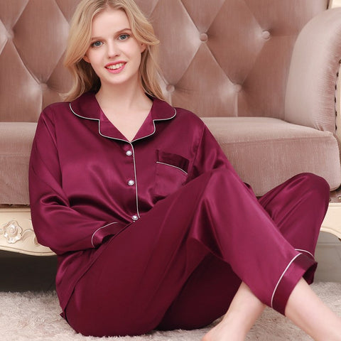 Spring/Autumn Women Satin Sleepwear Couple Silk Pajamas Home Suit Pajamas for Women Pijama Plus Size Home Clothing Pyjama-lilogal
