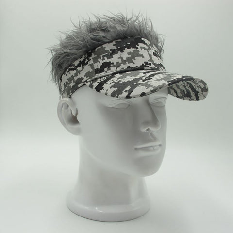 Hot New Fashion Novelty Baseball Cap Fake Flair Hair Sun Visor Hats Men's Women's Toupee Wig Funny Hair Loss Cool Gifts Golf Cap-lilogal