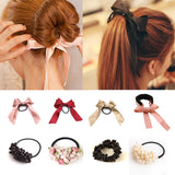 1pcs Women Tiara Satin Ribbon Bow Hair Band Rope Scrunchie Ponytail Holder Gum for Hair Accessories Pearl Elastic Rubber Bands-lilogal