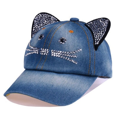 BINGYUANHAOXUAN Unisex Baseball Cap Children Cat Ears Rivets Sun Cowboy Hat Snapback Cap for Boy Girls Casual Cap Bone Gorro-lilogal