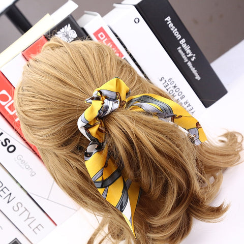Women Vintage Big Bowknot Ribbon Hair Scrunchies Print Fabric Hair Ties Hair Holder 7 Colors Quality Satin Ear Hairbands-lilogal