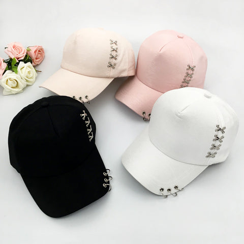 Fashion Korea Stylish Cap With Rings Solid Snapback Hip Hop Cap Hat Summer Metal Buckle Travel Sunscreen Sun Hat Baseball Cap-lilogal