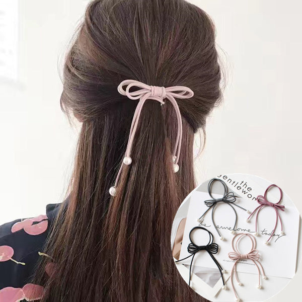 5 Pcs/lot Bow Ties Simulated Pearl Docor Handmade Bow Elastic Hair Ties Girls' Ponytail Holder Women Hair Accessories PT032-lilogal