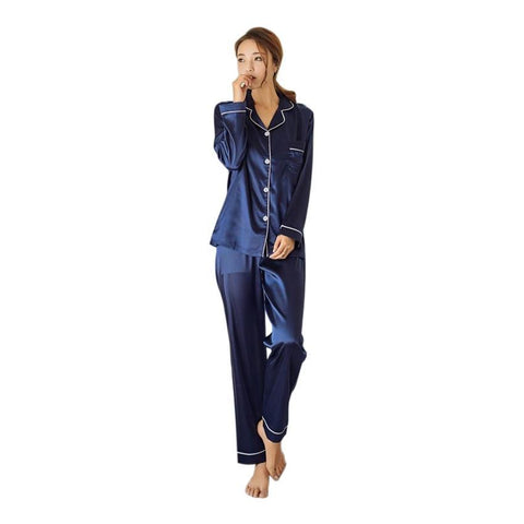 Womens Silk Satin Pajamas Pyjamas Set Long Sleeve Sleepwear Pijama Pajamas Suit Female Sleep Two Piece Set Loungewear Plus Size-lilogal