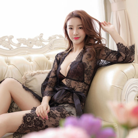 Women's Pajamas Sexy Lingerie Lace Long Sleeve Hot Robe Short Solid Night Robe Briefs + Bras + Robe-lilogal