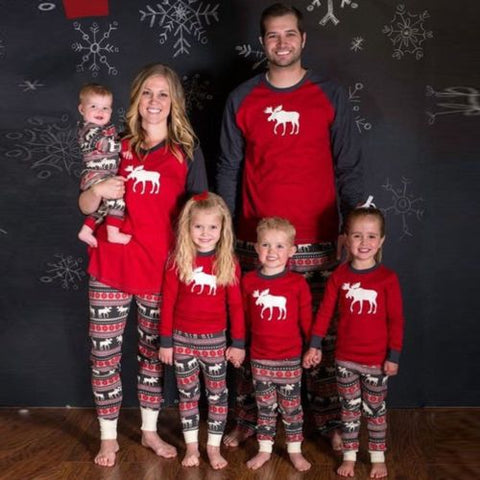 XMAS Moose Fairy Family Matching Christmas Pajamas Set Women Baby Kids Deer Sleepwear Nightwear Red Cotton Adult Kids Pajama Set-lilogal