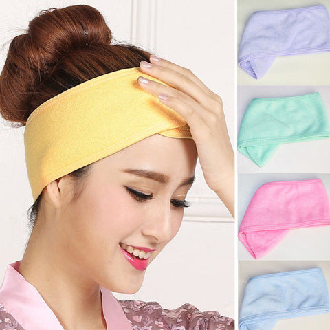 Women Spa Bath Shower Wash Face elastic Head turban Ladies Cosmetic Yoga Headband fabric Towel bandana Make Up tiara Hair Band-lilogal