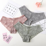 2018 Sexy women thongs breathable briefs lace hollowed-out cotton panties low-rise lingerie-lilogal