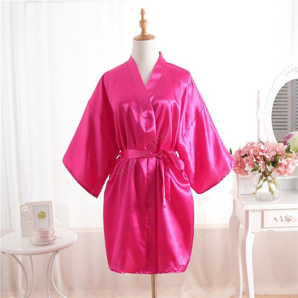Women Silk Bridesmaid Bride Robe Sexy Short Satin Wedding Kimono Robes Sleepwear Nightgown Dress Woman Bathrobe Pajamas J-Pink-lilogal