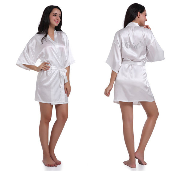 Women's Pure Colour Short Sparkle Rhinestone Bridesmaid Kimono Robes for Wedding Party Bride Bathrobe Sleepwear 8 colors-lilogal