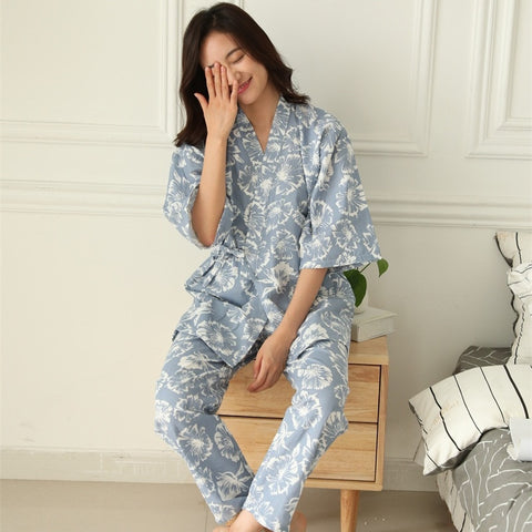 Plus Size Summer Retro Japanese Style Pajama Sets 100% Cotton Gauze Kimono Suit Loose Womens Pyjamas Sleepwear Female Home Suit-lilogal