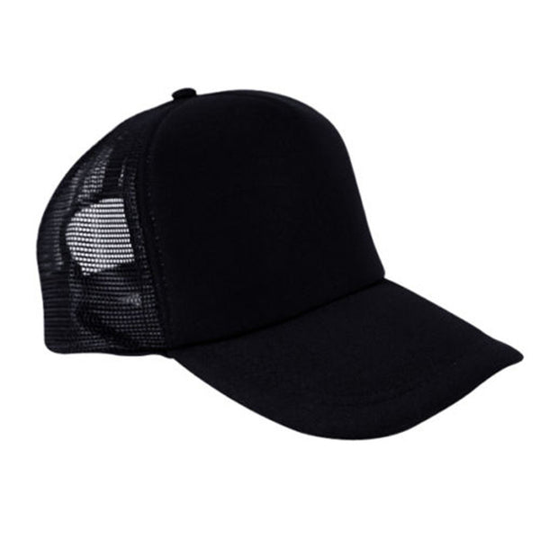 Black Mens Unisex Ladies Women Baseball Mesh Cap Rapper Trucker Snapback Hat-lilogal